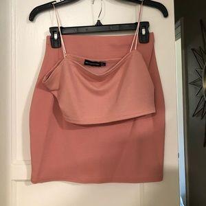 Bandeau crop top and mini suit skirt set